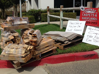 Facebook post - Free firewood and door mats for your camping trip.